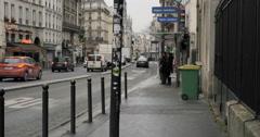 Magenta Saint-Martin bus station in Paris, France Stock Footage