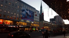 People walking shopping in the center of Stockholm during Christmas and new year Stock Footage
