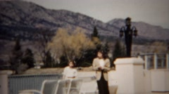 1952: Sisters exploring mountain retreat country club outdoor grounds.  DENVER, Stock Footage