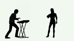 Keyboard player and female singer silhouettes performing Stock Footage