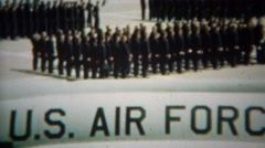 1966: Soldiers gathering formation on school training grounds. U.S. AIR FORCE Stock Footage