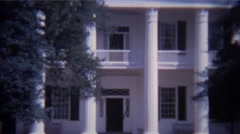 1966: Classic white pillar southern mansion house tourist traffic. CHATTANOOGA, Stock Footage