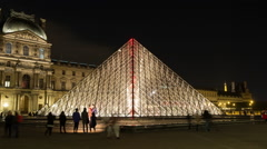 Time Lapse of the I. M. Pei Pyramid at Night - The Louvre Paris France Stock Footage