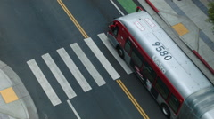 los angeles red city bus seen from above - stock footage