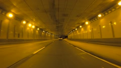 Car Passes While Driving Down Tunnel Stock Footage