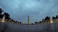 Water Fountain at Washington Monument in Evening Stock Footage