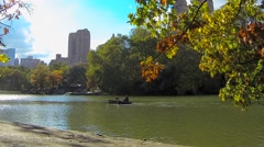 Person Rowing in a Canoe at Central Park - stock footage