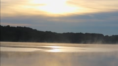 Fog Over Lake Water with Sunrise Stock Footage
