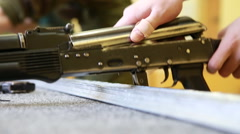 Parse-gathering model of Russian assault rifle Kalashnikov Stock Footage