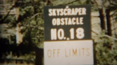 1966: Skyscraper obstacle course  wooden climbing tower structure. U.S. AIR Stock Footage