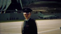 1966: Cadet giving family of military training school campus tour.  U.S. AIR - stock footage
