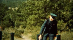 1966: Air force cadet shows off training parallel strength bars. U.S. AIR FORCE Stock Footage