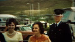 1966: Proud family visits cadet son at prestigious military school. U.S. AIR Stock Footage