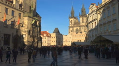 People walking at the Old Town Square (Staromestska) in Prague Stock Footage