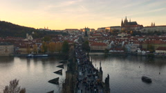 View out of the Lesser Bridge Tower to Charles Bridge (Karluv Most) Stock Footage