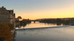 View from Charles bridge (Karluv most) to Vltava river Stock Footage