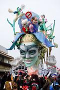 Parade float during the Carnival of Viareggio Stock Photos