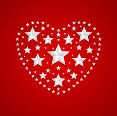 Heart symbol made of gray stars on red background - stock illustration