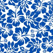 Stock Illustration of Tropical weathered blue hibiscus seamless pattern
