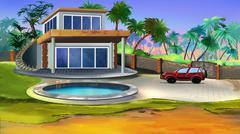 Villa in a tropical garden. - stock illustration