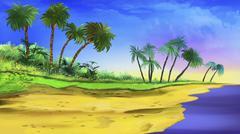 tropical beach - stock illustration
