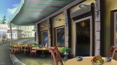 Street cafe on a summer city Stock Illustration