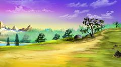Landscape with trees - stock illustration