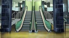 Entrance to the escalator - stock illustration