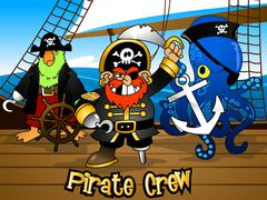 Pirate crew with the Captain on a ship deck Stock Illustration