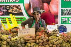 Woman selling potatoes at Mistura food festival - stock photo