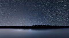 Star Trails, Beautiful Blue Night reflection Stock Footage