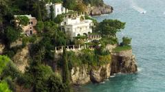 Stock Video Footage of Amalfi Coast Waves Cliffs Italy 4K Stock Video Footage