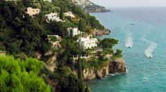 Amalfi Coast Waves Cliffs Italy 4K Stock Video Footage Stock Footage