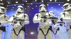 Stormtroopers Soldiers Holding A Laser Weapon In An Illuminated Showcase Stock Footage