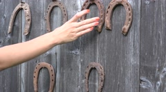 Horse shoe take off wall Stock Footage