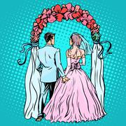Wedding groom bride altar - stock illustration