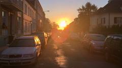 Prague city street sunrise sunset Czech Republic Praha sun set rise sky rising Stock Footage