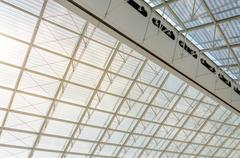 Futuristic Roof Structure Detail of Charles de Gaulle airport in Paris Stock Photos