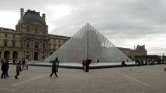 Time Lapse -  I. M. Pei Pyramid at the Louvre - Cloudy Daytime - Paris France Stock Footage
