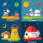 Space Exploration 4 Flat Icons Square Stock Illustration