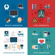 Medical Examination 4 Flat Icons Square - stock illustration