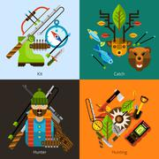 Hunting and fishing flat set - stock illustration