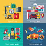Fuel Station Concept Icons Set Stock Illustration