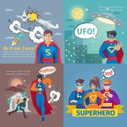 Superhero Concept Icons Set - stock illustration