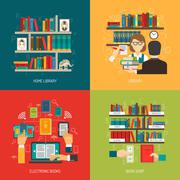 Library Concept 4 Flat Icons Square Stock Illustration