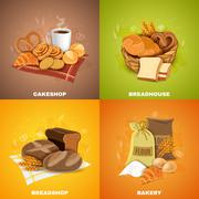 Bakery Breadshop 4 Flat Icons Square - stock illustration