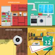 Stock Illustration of Household Appliances Concept Icons Set