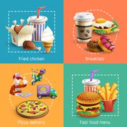 Fastfood 4 Cartoon Icons Square Composition - stock illustration