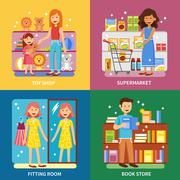 Shopping Concept 4 Icons Banner Square Stock Illustration