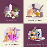 Alternative Medicine Design Concept Set - stock illustration